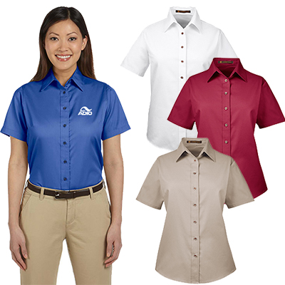 harriton ladies easy blend™ short-sleeve twill shirt