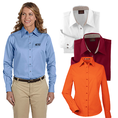harriton ladies easy blend™ long-sleeve twill shirt