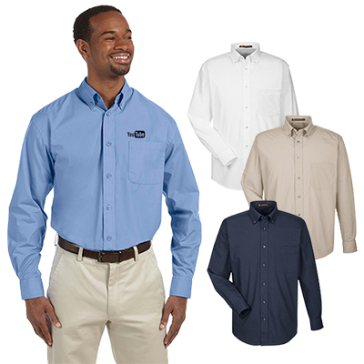 harriton mens 3.1 oz. essential poplin shirt