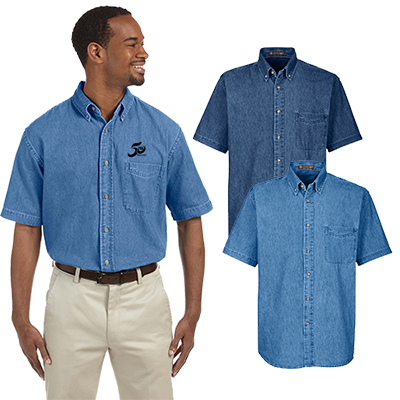 harriton mens 6.5 oz. short-sleeve denim shirt