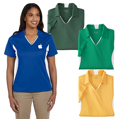Harriton Ladies' Side Blocked Micro-Pique Polo