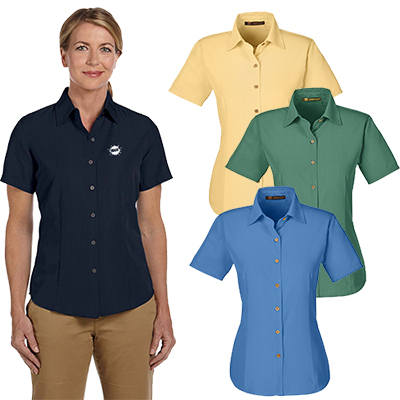 harriton ladies barbados textured camp shirt