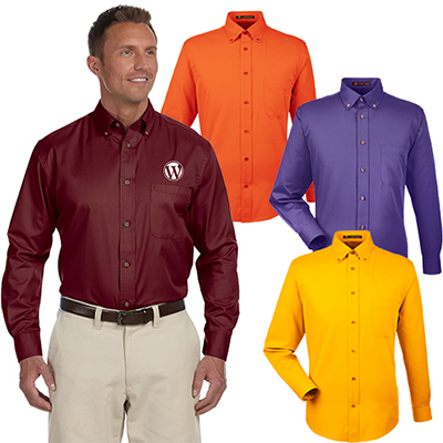 harriton mens easy blend™ long-sleeve twill shirt