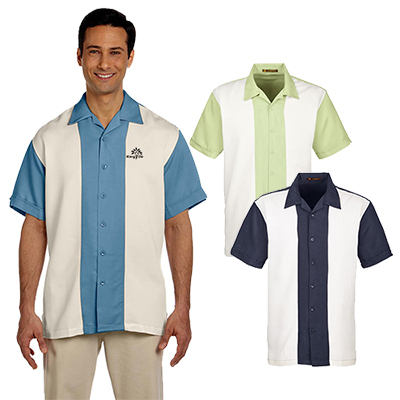 harriton mens two-tone bahama cord camp shirt