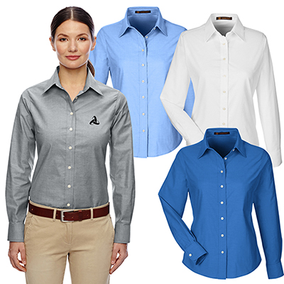 harriton ladies oxford with stain-release shirt