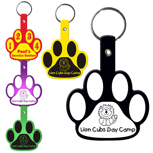 paw flexible key tag