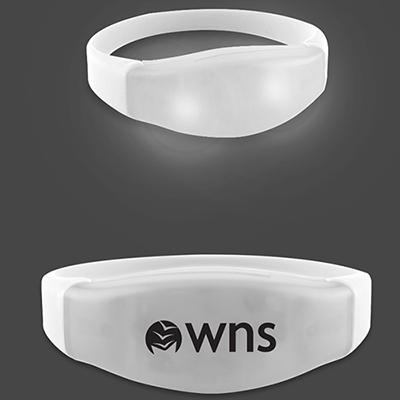 power up flashing led bracelets - white