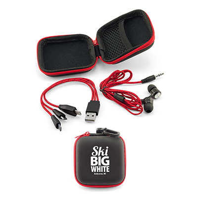 earbuds/charging cable gift set - red
