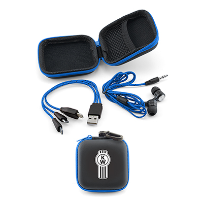 earbuds/charging cable gift set - blue