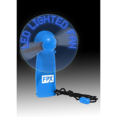 led lighted message fan - blue