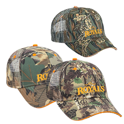 camouflage six panel low profile style mesh back cap