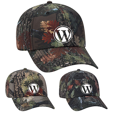 camouflage polyester canvas six panel style cap