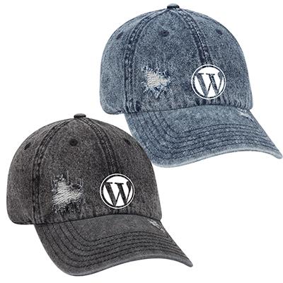 snow wash distressed denim six panel style cap