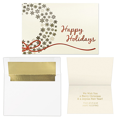 gold snowflakes wreath - 5 x 7 premium card