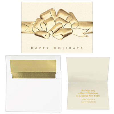 raised foil bow - 5 x 7 premium card
