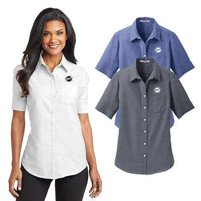 23674b6df Boost your brand value with the imprinted port Authority Ladies Short  Sleeve Superpro Oxford Shirt!