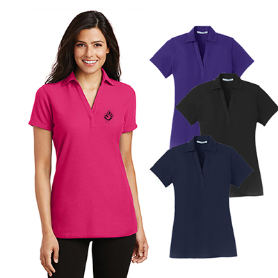 port authority® ladies silk touch™ y-neck polo