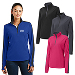 30514 - Sport-Tek® Ladies Sport-Wick® Textured Colorblock 1/4-Zip Pullover