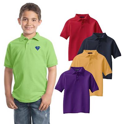 port authority® youth silk touch™ polo