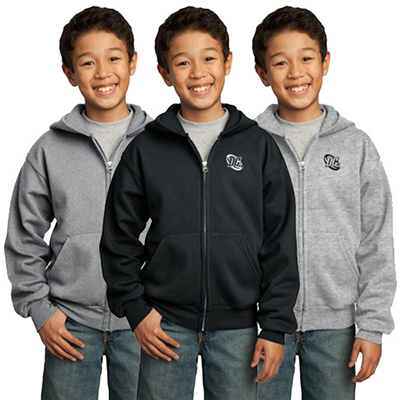 port & company® - youth core fleece full-zip hooded sweatshirt