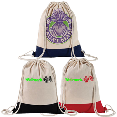 full color two tone natural drawstring backpack