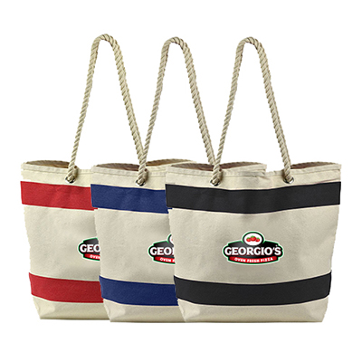 striped canvas tote - full color