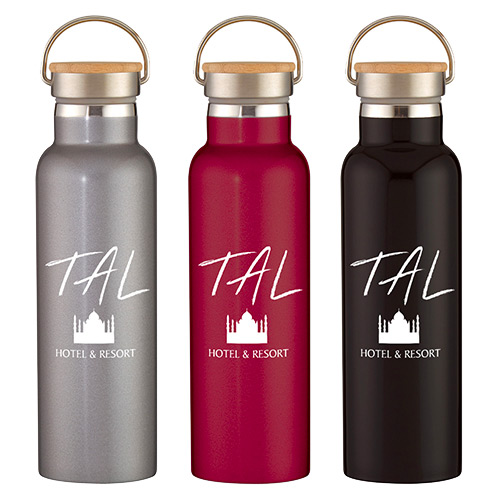 21 oz. Stainless Steel Liberty Bottle w/ Wood Lid
