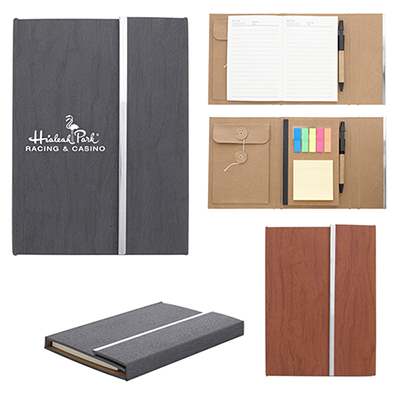 5 x 7 woodgrain padfolio with sticky notes and flags