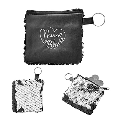 reversible sequins pocket pouch