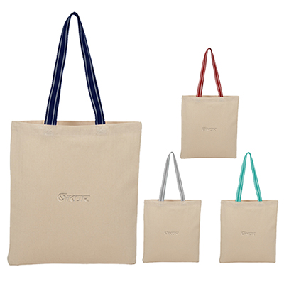 Stripe Handle 6oz Cotton Canvas Convention Tote