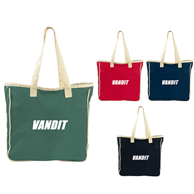 colored cotton zippered tote