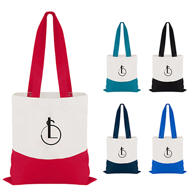 Cotton Colored Accent Flat Tote