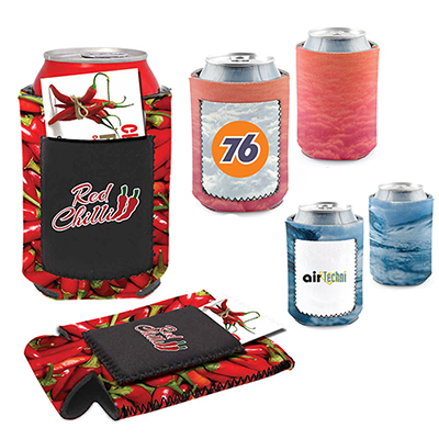 12 oz can coolie beverage insulator full color promo pocket
