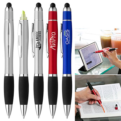 curvaceous stylus cap highlighter pen