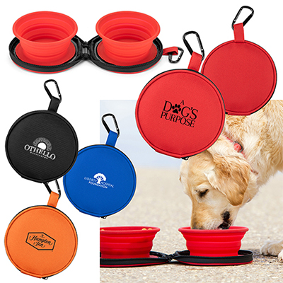 Mocha Collapsible Pet Bowls with Case