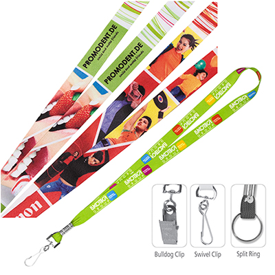 3/4 textured polyester multi-colored sublimation lanyard