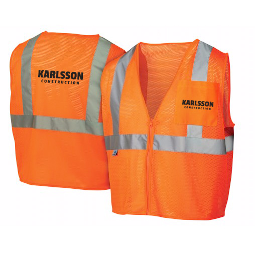 economy hi vis orange class 2 zipper vest