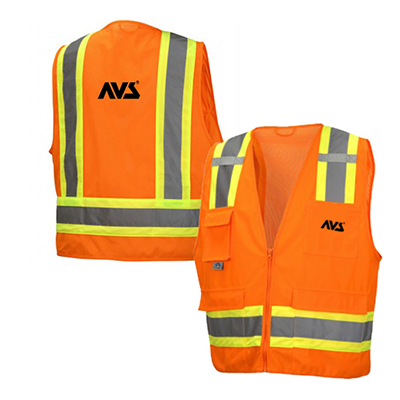 hi vis orange class 2 surveyor zipper vest