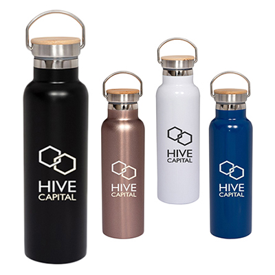 20 oz. vacuum bottle with bamboo lid