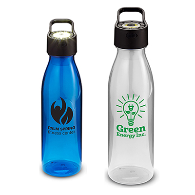 24 oz. water bottle with rechargeable cob light