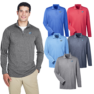 ultraclub mens cool & dry heathered performance quarter-zip