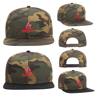 Camouflage Snap 6 Panel Mid Profile Snapback Cap