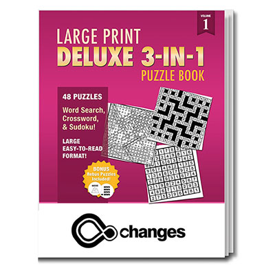 Large Print Deluxe 3-in-1 Puzzle Book - Vol. 1