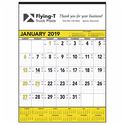yellow & black contractors calendar