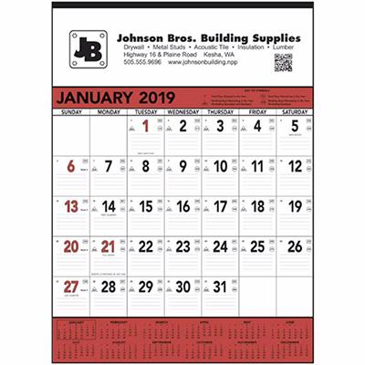 Red & Black Memo Calendar