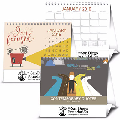 logo imprinted contemporary quotes desk calendar 2018